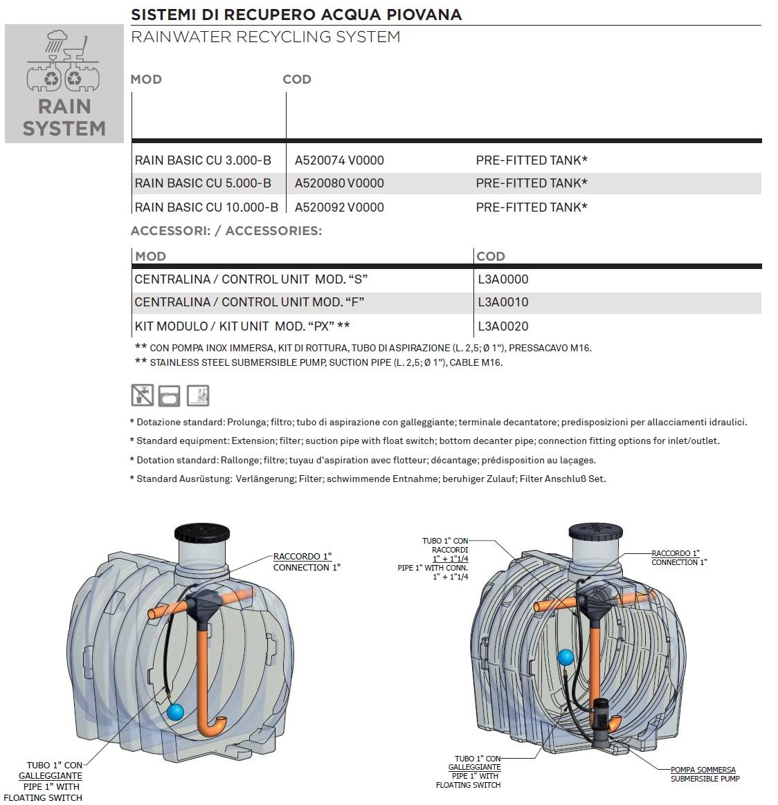 Elbi s p a termoidraulica dettagli prodotto rain for Tubi del serbatoio dell acqua calda