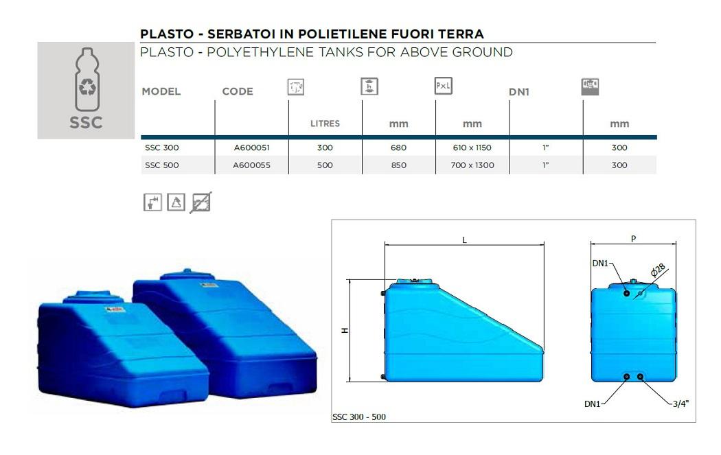 Serbatoio Acqua Sottotetto Sottoscala 300 500 Litri Elbi Fornid
